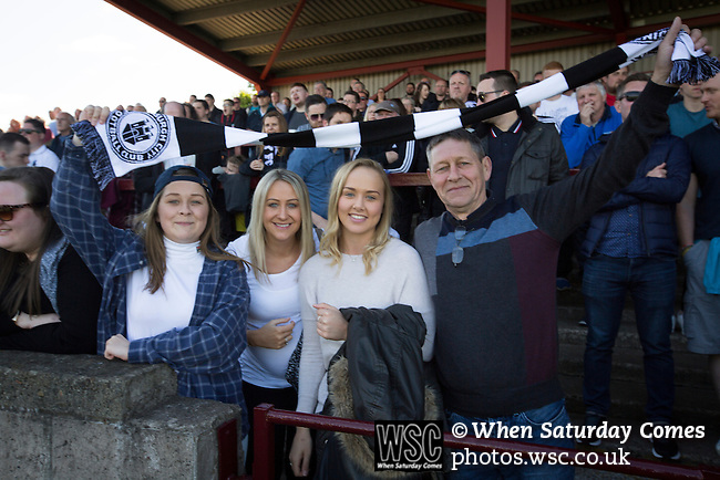 East Stirlingshire 0 Edinburgh City 1, 14/05/2016. Ochilview, Scottish League Pyramid Play Off. Visiting fans in the away end before East Stirlingshire took on Edinburgh City in the second leg of the Scottish League pyramid play-off at Ochilview Park, Stenhousemuir. The play-offs were introduced in 2015 with the winners of the Highland and Lowland Leagues playing-off for the chance to play the club which finished bottom of Scottish League 2. Edinburgh City won the match 1-0 giving them a 2-1 aggregate victory making them the first club in Scottish League history to be promoted into the league. Photo by Colin McPherson.