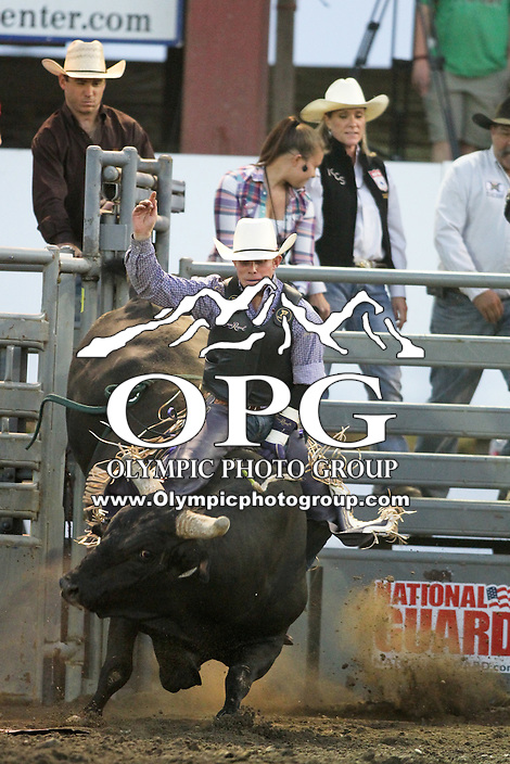 20 Aug 2014:  Steve Woolsey was not able to score while competing in the Seminole Hard Rock Extreme Bulls competition at the Kitsap County Stampede in Bremerton, Washington.