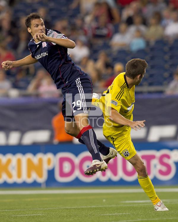 New England Revolution midfielder Marko Perovic (29) heads the ball on goal. The New England Revolution tied Columbus Crew, 2-2, at Gillette Stadium on September 25, 2010.