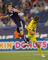 New England Revolution midfielder Marko Perovic (29) heads the ball on goal. The New England Revolution tied Columbus Crew, 2-2, at Gillette Stadium on September 25, 2010.