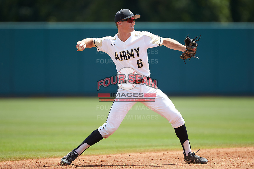 Army Black Knights shortstop Trey Martin (6) makes a throw to first base against the North Carolina State Wolfpack at Doak Field at Dail Park on June 3, 2018 in Raleigh, North Carolina. The Wolfpack defeated the Black Knights 11-1. (Brian Westerholt/Four Seam Images)