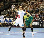 11.01.2019, Mercedes Benz Arena, Berlin, GER, BRA vs. FRA, im Bild <br /> 7m von Michael Guigou (FRA #21), Thiago Ponciano (BRA #35)<br /> <br />      <br /> Foto &copy; nordphoto / Engler