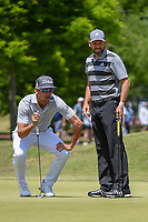 Rafael Cabrera Bello (ESP) looks over Sergio Garcia's (ESP) putt on 1 during Round 2 of the Zurich Classic of New Orl, TPC Louisiana, Avondale, Louisiana, USA. 4/27/2018.<br /> Picture: Golffile | Ken Murray<br /> <br /> <br /> All photo usage must carry mandatory copyright credit (&copy; Golffile | Ken Murray)
