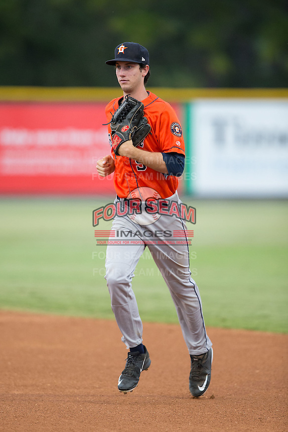 Greeneville Astros center fielder Kyle Tucker (9) jogs off the field between innings of the game against the Burlington Royals at Burlington Athletic Park on August 29, 2015 in Burlington, North Carolina.  The Royals defeated the Astros 3-1. (Brian Westerholt/Four Seam Images)