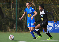 20191116 – WONDELGEM, BELGIUM : Gent's Nicky Van Den Abbeele (L) and Aalst's Henriette Awete (R) pictured during a women soccer game between AA Gent Ladies and Eendracht Aalst in the ¼  quarter finals of the Belgium Women's Cup Competition  season 2019-2020 , saturday 16 th November 2019 at the Neptunus site stadium in Wondelgem,  Gent  , Belgium  .  PHOTO SPORTPIX.BE | DIRK VUYLSTEKE