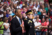 From L to R, United States President Barack Obama and Major General Jeffrey Buchanan participate in a wreath laying ceremony at the Tomb of the Unknown Soldier at Arlington National Cemetery, May 26, 2014 in Arlington, Virginia. President Obama returned to Washington Monday morning after a surprise visit to Afghanistan to visit U.S. troops at Bagram Air Field.<br /> Credit: Drew Angerer / Pool via CNP