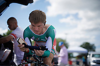 Vasil Kiryienka (BLR/SKY) warming up for what would become the ride of his life (by winning the rainbow jersey)<br /> <br /> Elite Men TT<br /> UCI Road World Championships / Richmond 2015