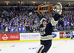 SIOUX FALLS, SD - MAY 15:  Stefanos Lekkas from the Sioux Falls Stampede hoists the cup after their 4-2 win over the Muskegon Lumberjacks to win the 2015 Clark Cup at the Denny Sanford Premier Center Friday night.  (Photo by Dave Eggen/Inertia)