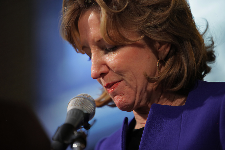 GREENSBORO, NC - NOVEMBER 4:   Sen. Kay Hagan (D-N.C.) concedes the Senate race in North Carolina to Republican Thom Tillis    in Greensboro, NC, on Tuesday, November 4, 2014.  (Photo by Ted Richardson/For The Washington Post)