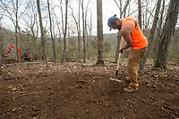NWA Democrat-Gazette/BEN GOFF @NWABENGOFF<br /> Andy Flietstra with Rock Solid Trail Contracting works on a new section of trail Wednesday, April 11, 2018, at Lake Leatherwood Park in Eureka Springs. The park is adding six new downhill lines.