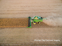 63801-09108 Soybean Harvest, John Deere combine harvesting soybeans - aerial - Marion Co. IL