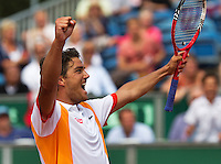 14-07-13, Netherlands, Scheveningen,  Mets, Tennis, Sport1 Open, day seven final, Jesse Huta Galung (NED) wins en jubilates.<br /> <br /> <br /> Photo: Henk Koster