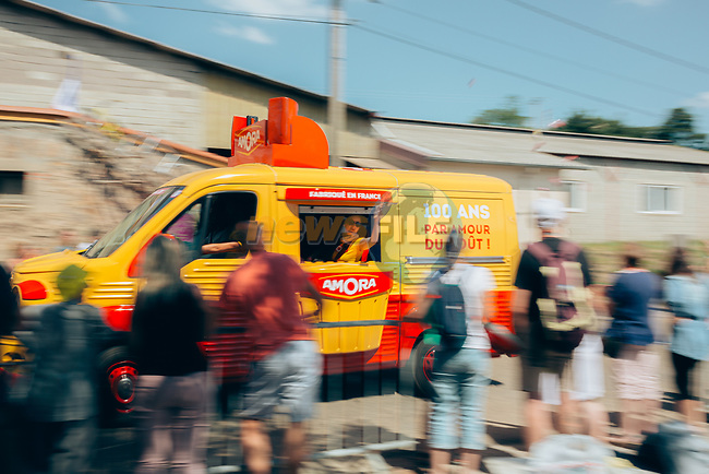 The publicity caravan passes by before the race during Stage 9 of the 2019 Tour de France running 170.5km from Saint-Etienne to Brioude, France. 14th July 2019.<br /> Picture: ASO/Thomas Maheux | Cyclefile<br /> All photos usage must carry mandatory copyright credit (© Cyclefile | ASO/Thomas Maheux)