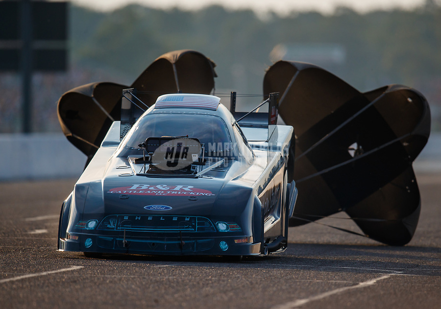 Aug 18, 2017; Brainerd, MN, USA; NHRA funny car driver Brian Stewart during qualifying for the Lucas Oil Nationals at Brainerd International Raceway. Mandatory Credit: Mark J. Rebilas-USA TODAY Sports