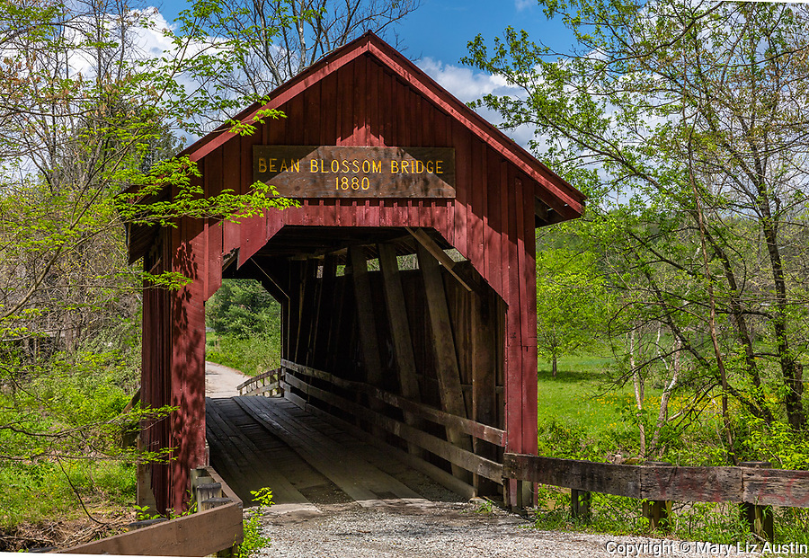 Brown County, Indiana: Bean Blossom covered bridge (1880) in early spring