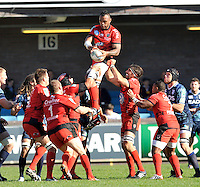 Cardiff, Wales. Toulon win the line out during the Heineken Cup Match between Cardiff Blues and Toulon at The Arms Park on October 21, 2012 in Cardiff, Wales