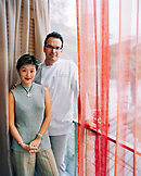 SINGAPORE, portrait of Chef Julien Bompard and his wife Edith Lai-Bompartd in their restaurant Le Saint Julien located in the Fullerton Water Boat House.