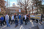 A crowd of union protesters march in front of the Capitol in Carson City, Nev., on Wednesday, Feb. 25, 2015. Workers are opposed to a bill that would suspend prevailing wages on school construction projects.  <br /> Photo by Cathleen Allison