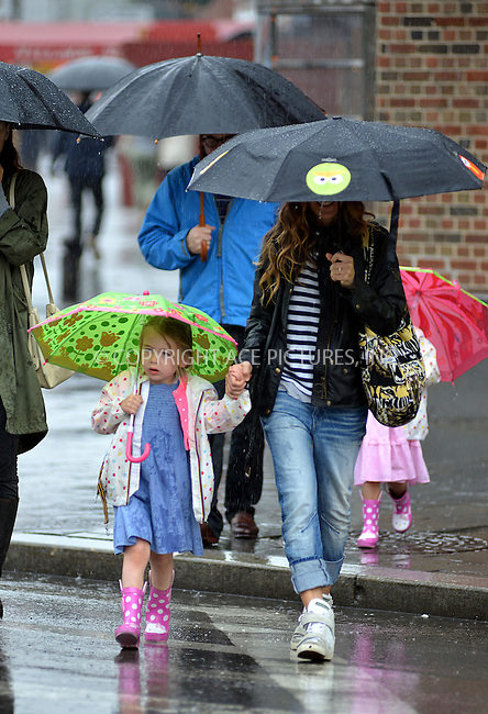 ACEPIXS.COM<br /> <br /> June 13 2014, New York City<br /> <br /> Actors Matthew Broderick and Sarah Jessica Parker take their children Tabitha and Marion to school in the West Village on June 13 2014 in New York City<br /> <br /> <br /> By Line: Curtis Means/ACE Pictures<br /> <br /> ACE Pictures, Inc.<br /> www.acepixs.com<br /> Email: info@acepixs.com<br /> Tel: 646 769 0430