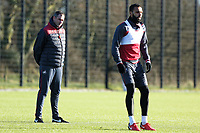 Kyle Bartley (R) in action next to manager Paul Clement during the Swansea City Training at The Fairwood Training Ground, Swansea, Wales, UK. Friday 15 December 2017