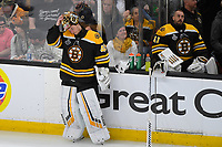 June 6, 2019: Boston Bruins goaltender Tuukka Rask (40) gets a break during a TV timeout at game 5 of the NHL Stanley Cup Finals between the St Louis Blues and the Boston Bruins held at TD Garden, in Boston, Mass. The Blues defeat the Bruins 2-1 in regulation time. Eric Canha/CSM