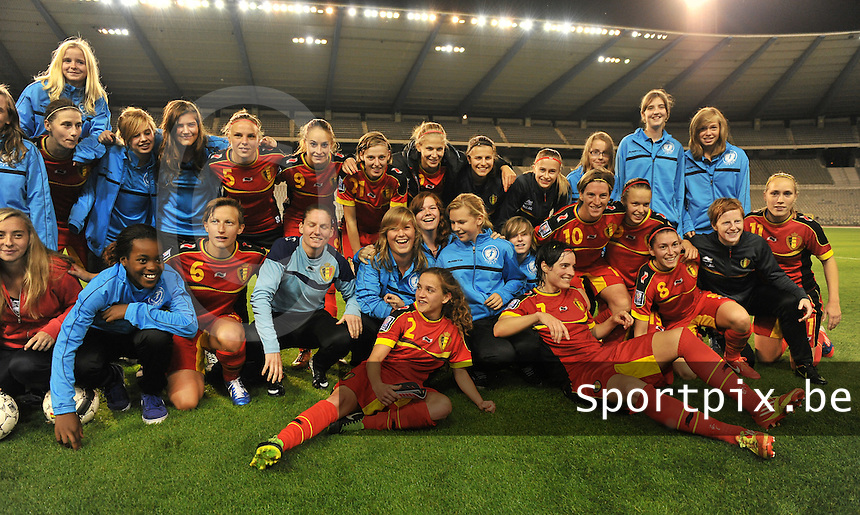 20130921 - BRUSSELS , BELGIUM : Belgian Team pictured during the female soccer match between Belgium and Albania , on the first matchday in group 5 of the UEFA qualifying round to the FIFA Women World Cup in Canada 2015 at the Koning Boudewijn Stadion , Brussels . Saturday 21th September 2013. PHOTO DAVID CATRY