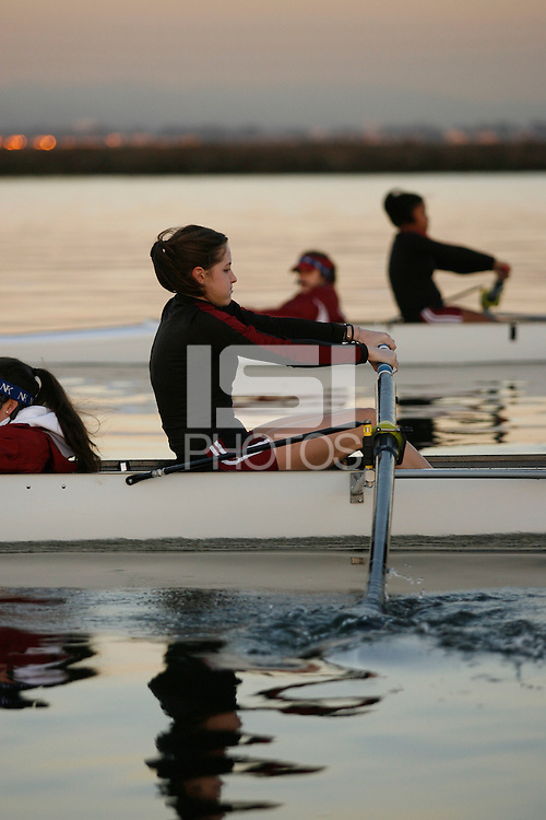 9 February 2006: Kate Hayes during lightweight crew practice at Redwood Shores in Redwood Shores, CA.
