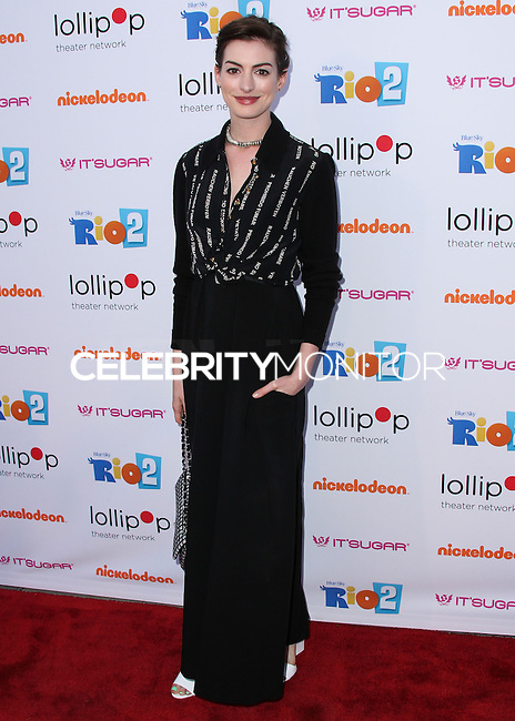 "BURBANK, CA, USA - APRIL 26: Actress Anne Hathaway arrives at the Lollipop Theater Network's Night Under The Stars Screening Of Twentieth Century Fox's ""Rio 2"" Hosted by Anne Hathaway held at Nickelodeon Animation Studios on April 26, 2014 in Burbank, California, United States. (Photo by Xavier Collin/Celebrity Monitor)"