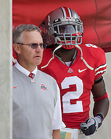 September 27, 2008: Ohio State head coach Jim Tressel and linebacker Malcolm Jenkins (2). The Ohio State Buckeyes defeated the Minnesota Gophers 34-21 on September 27, 2008 at Ohio Stadium, Columbus, Ohio.