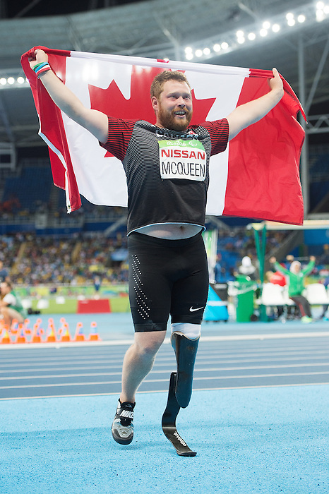 RIO DE JANEIRO - 9/9/2016:  Alister McQueen wins silver after competing in the Men's Javelin Throw - F44 Final in the Olympic Stadium during the Rio 2016 Paralympic Games. (Photo by Matthew Murnaghan/Canadian Paralympic Committee
