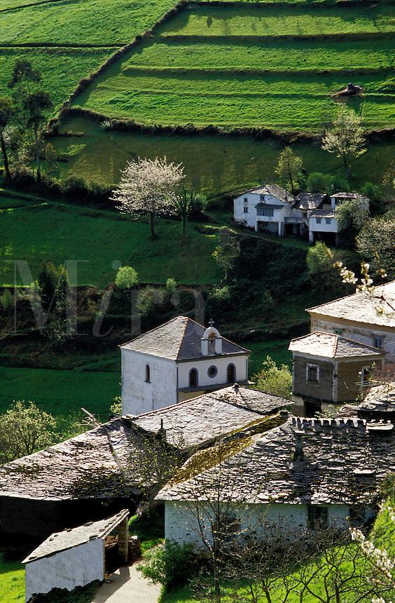 Spain. Asturias. Hamlet and fields in spring.
