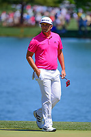 Jon Rahm (ESP) after his putt on 2 during round 2 of the Shell Houston Open, Golf Club of Houston, Houston, Texas, USA. 3/31/2017.<br /> Picture: Golffile | Ken Murray<br /> <br /> <br /> All photo usage must carry mandatory copyright credit (&copy; Golffile | Ken Murray)