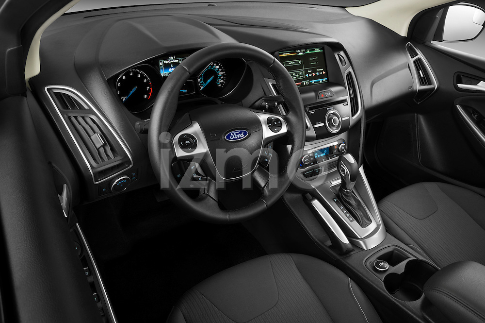 High angle dashboard view of a 2012 Ford Focus Hatchback Titanium Stock Photo