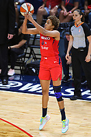 Washington, DC - Sept 17, 2019: Washington Mystics forward Tianna Hawkins (21) connects on a three point basket during WNBA Playoff semi final game between Las Vegas Aces and Washington Mystics at the Entertainment & Sports Arena in Washington, DC. The Mystics hold on to beat the Aces 97-95. (Photo by Phil Peters/Media Images International)