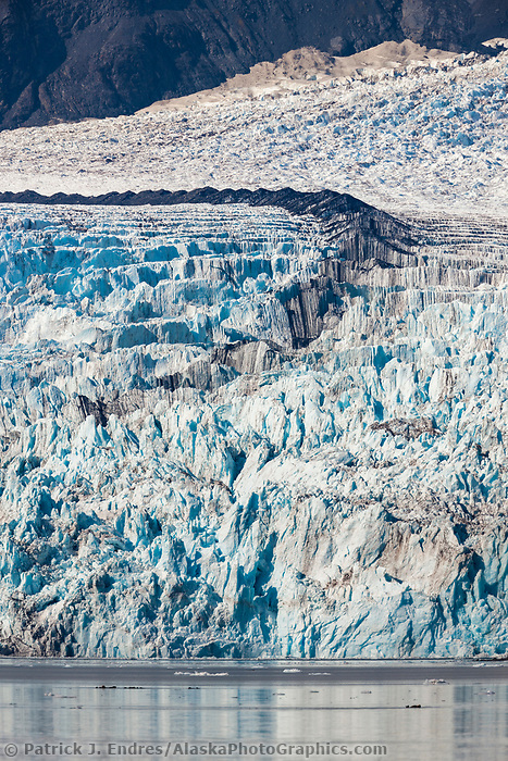 Medial moraine on Surprise glacier, Harriman Fjord, Prince William Sound, southcentral, Alaska.