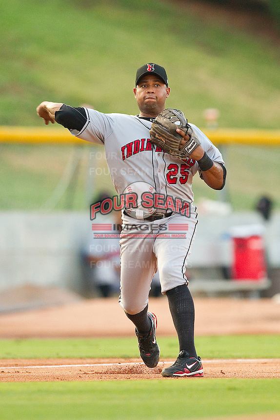 Third baseman Andy Marte #25 of the Indianapolis Indians makes a throw to first base against the Charlotte Knights at Knights Stadium on July 26, 2011 in Fort Mill, South Carolina.  The Knights defeated the Indians 5-4.   (Brian Westerholt / Four Seam Images)