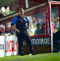 Tranmere Rovers manager Micky Mellon shouts instructions to his team from the technical area<br /> <br /> Photographer Andrew Vaughan/CameraSport<br /> <br /> The EFL Sky Bet League Two - Lincoln City v Tranmere Rovers - Monday 22nd April 2019 - Sincil Bank - Lincoln<br /> <br /> World Copyright © 2019 CameraSport. All rights reserved. 43 Linden Ave. Countesthorpe. Leicester. England. LE8 5PG - Tel: +44 (0) 116 277 4147 - admin@camerasport.com - www.camerasport.com