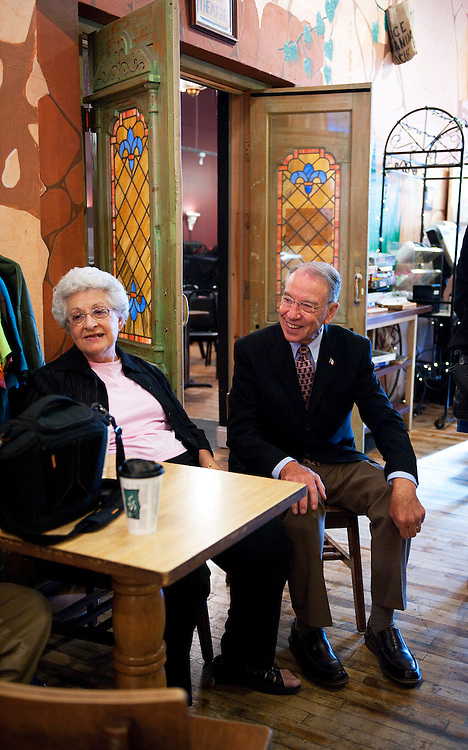 UNITED STATES - AUGUST 12:  Sen. Charles Grassley, R-Iowa, and Grassley's wife Barbara, hang out in Java Joe's Coffeehouse in Des Moines, Iowa, before the Senator appeared on The Daily Rundown on MSNBC, hosted by Chuck Todd, which was being filmed on location.  (Photo By Tom Williams/Roll Call)