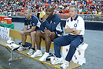 24 April 2004: Fire head coach Dave Sarachan (right) with assistants Denis Hamlett (center) and Daryl Shore (left) before the game. The Chicago Fire defeated DC United 1-0 at RFK Stadium in Washington, DC on opening day of the regular season in a Major League Soccer game..