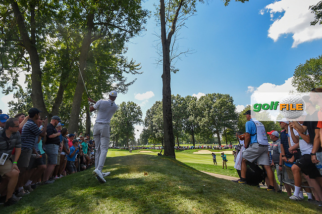 Tiger Woods (USA) watches his second shot on 2 during 3rd round of the World Golf Championships - Bridgestone Invitational, at the Firestone Country Club, Akron, Ohio. 8/4/2018.<br /> Picture: Golffile   Ken Murray<br /> <br /> <br /> All photo usage must carry mandatory copyright credit (© Golffile   Ken Murray)
