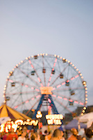The Wonder Wheel (landmark ferris wheel) at Coney Island, Dusk, soft focus/defocussed effect.....Coney Island, Brooklyn, New York City, New York State, USA