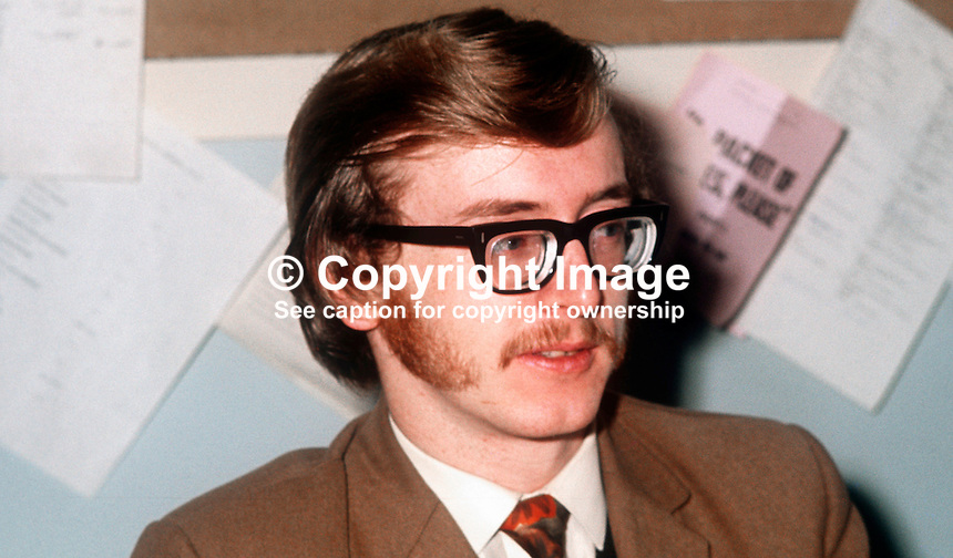 John Houston, president, Students&rsquo; Representative Council, Queen&rsquo;s University, Belfast, N ireland, January, 1972, 197201000023<br />
