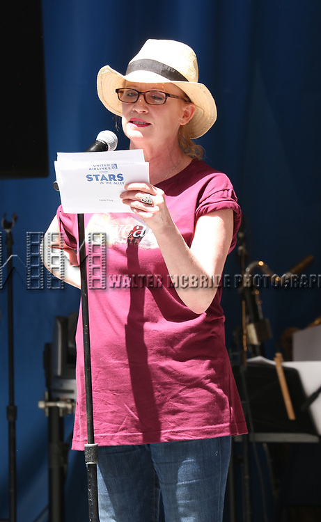 Johanna Day on stage at United Airlines Presents #StarsInTheAlley free outdoor concert in Shubert Alley on 6/2/2017 in New York City.