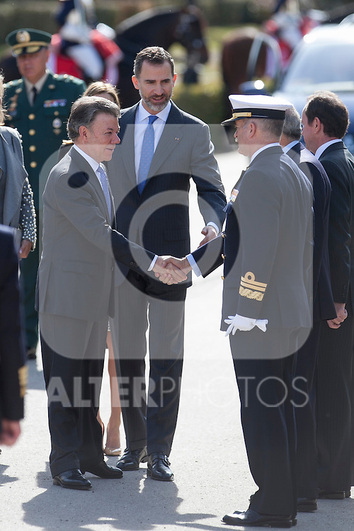 King Felipe VI of Spain during the Colombia´s President Juan Manuel Santos welcome ceremony at the Pardo Palace in Madrid, Spain. March 01, 2015. (ALTERPHOTOS/Victor Blanco)
