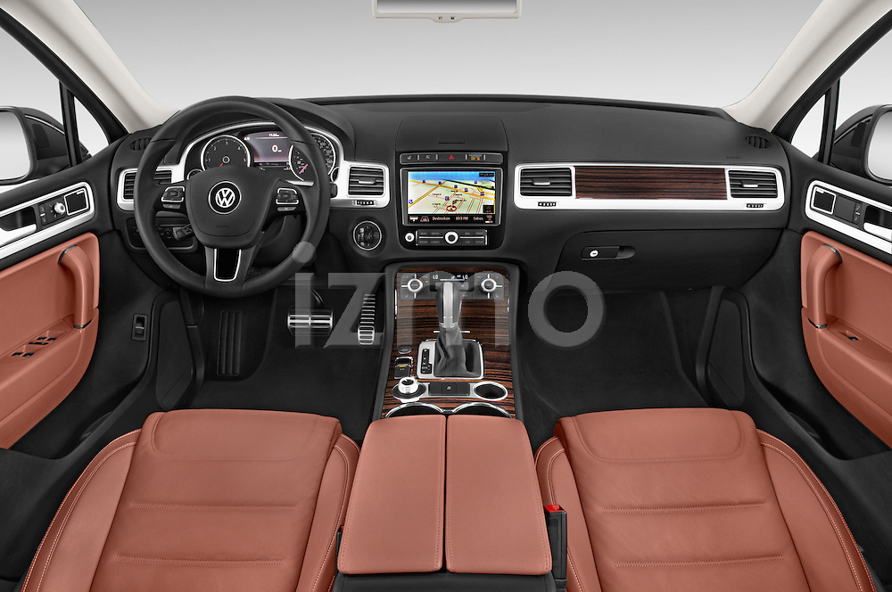 Stock photo of straight dashboard view of a 2015 Volkswagen Touareg Executive 5 Door Sport Utility Vehicle Dashboard