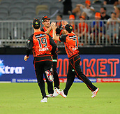 3rd February 2019, Optus Stadium, Perth, Australia; Australian Big Bash Cricket League, Perth Scorchers versus Melbourne Stars; Mitch Marsh celebrates with Michael Klinger and Nick Hobson of the Perth Scorchers after he took the catch to dismiss Peter Handscomb of the Melbourne Stars