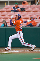 Will Lamb #30 of the Clemson Tigers follows through on his swing versus the Wake Forest Demon Deacons at Doug Kingsmore stadium March 13, 2009 in Clemson, SC. (Photo by Brian Westerholt / Four Seam Images)