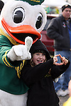 Nine-year-old Hannah Renton of Battlefield, Washington poses with the Duck for a picture..Photo by Jaime Valdez