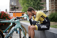 Martijn Keizer (NLD/LottoNL-Jumbo) post-finish.<br /> He kept the fastest time for a very long time, until (only) Roger Kluge beat him by 1 second.<br /> <br /> stage 1: prologue<br /> Ster ZLM Tour 2015