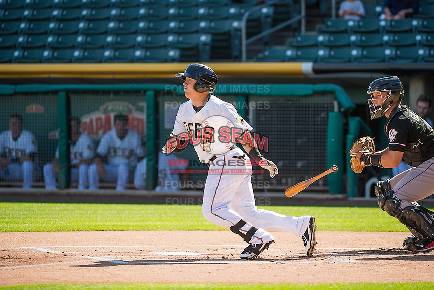Daniel Robertson (13) of the Salt Lake Bees at bat against the Albuquerque Isotopes in Pacific Coast League action at Smith's Ballpark on June 8, 2015 in Salt Lake City, Utah.   The Bees defeated the Isotopes 10-7 in game one of a double-header.(Stephen Smith/Four Seam Images)
